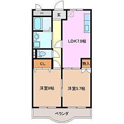 三重県伊賀市平野東町の賃貸アパートの間取り