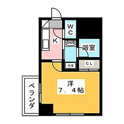ヴィークブライト名古屋東別院 8階1Kの間取り