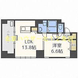 札幌市営南北線 大通駅 徒歩2分の賃貸マンション 11階1LDKの間取り