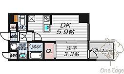 HS梅田EAST 11階1DKの間取り