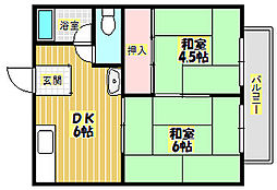 大阪府箕面市坊島3丁目の賃貸アパートの間取り