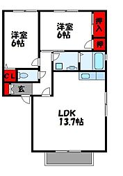 カーサ新宮 2階2LDKの間取り