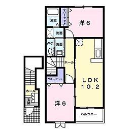 滋賀県近江八幡市安土町常楽寺の賃貸アパートの間取り
