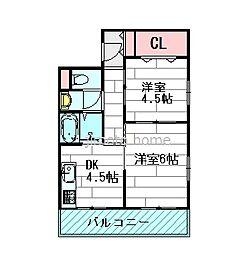 大阪府吹田市江坂町5丁目の賃貸マンションの間取り