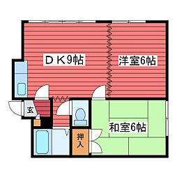 レジデンスヒルトップ2[2階]の間取り