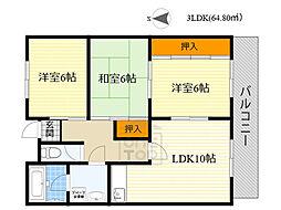 ADUKO一条池 4階3LDKの間取り
