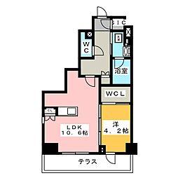 プラウドフラット菊川 1階1LDKの間取り