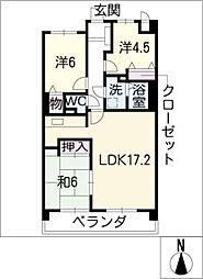 ラウムズ北浜田602号室[6階]の間取り