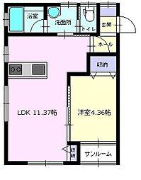 秋田県大仙市大曲丸の内町の賃貸アパートの間取り