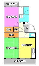東京都西東京市中町3丁目の賃貸マンションの間取り