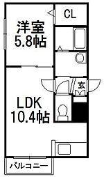 Reve Hiragishi[3階]の間取り