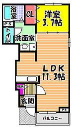 カルム・メゾン B棟[1階]の間取り