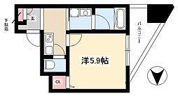 ディアレイシャス新栄 5階1Kの間取り