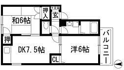 兵庫県宝塚市鹿塩1丁目の賃貸アパートの間取り