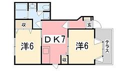 兵庫県明石市魚住町住吉1丁目の賃貸アパートの間取り