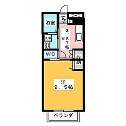 ラメール東金U 1階1Kの間取り