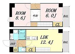 スタジオアイ 7階2LDKの間取り