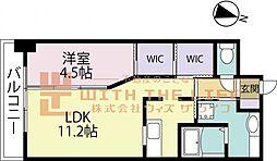 GRANDAIKURUME(グランドアイクルメ) 3階1LDKの間取り