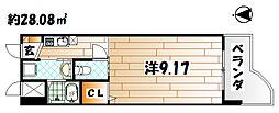福岡県北九州市八幡西区黒崎3丁目の賃貸マンションの間取り
