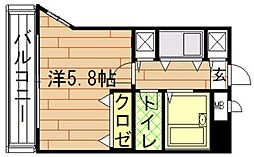 福岡県福岡市中央区福浜1丁目の賃貸マンションの間取り