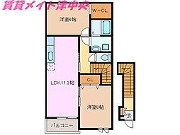 三重県津市河芸町一色の賃貸アパートの間取り