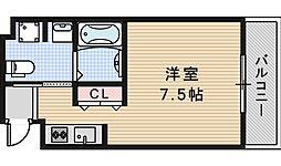 JR大阪環状線 天王寺駅 徒歩5分の賃貸マンション 5階ワンルームの間取り