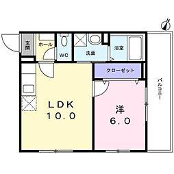西武新宿線 新井薬師前駅 徒歩7分の賃貸マンション 1階1LDKの間取り
