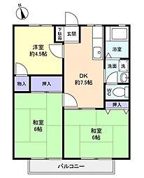 ホワイトハイツI[2階]の間取り