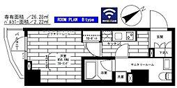 都営大江戸線 門前仲町駅 徒歩8分の賃貸マンション 8階1Kの間取り
