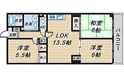 大阪府豊中市清風荘1丁目の賃貸マンションの間取り