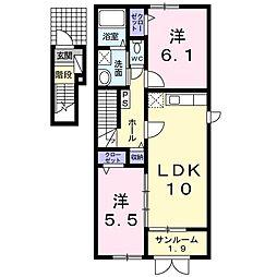 新潟県新潟市北区下早通の賃貸アパートの間取り