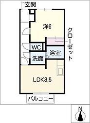 スプレッドK[1階]の間取り