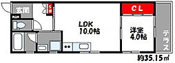 JR鹿児島本線 千早駅 徒歩4分の賃貸アパート 2階1LDKの間取り