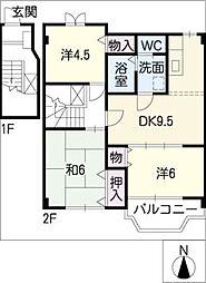 トリプルタウン B棟[2階]の間取り