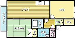 セジュール高松[201号室]の間取り