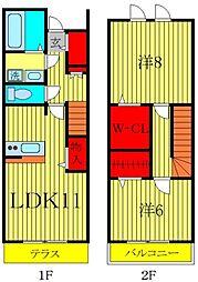 [テラスハウス] 千葉県柏市大室3丁目 の賃貸【千葉県 / 柏市】の間取り
