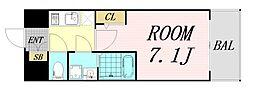エスプレイス大阪リバーテラス 7階1Kの間取り