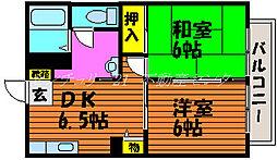 岡山県岡山市中区長利の賃貸アパートの間取り