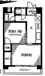 サンリバーマンション[4階]の間取り