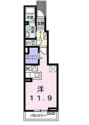 近鉄天理線 天理駅 徒歩13分の賃貸アパート 1階1Kの間取り
