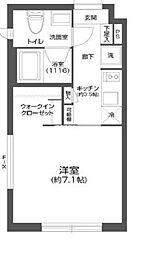 都営新宿線 菊川駅 徒歩6分の賃貸マンション 5階1Kの間取り