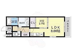 近鉄大阪線 弥刀駅 徒歩7分の賃貸アパート 1階1LDKの間取り