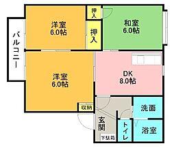 リバーサイド林A棟[2階]の間取り