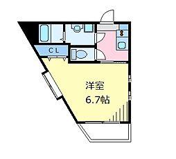 京王井の頭線 高井戸駅 徒歩8分の賃貸マンション 1階1Kの間取り
