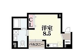 オリエントシティ・K 4階ワンルームの間取り