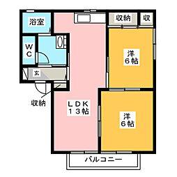 アネックス都府楼 A棟[2階]の間取り