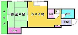 福岡県北九州市小倉北区原町1丁目の賃貸アパートの間取り