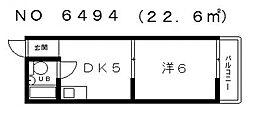ニューライフ赤坂[5階]の間取り
