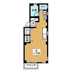 チェリーTハイツ 1階ワンルームの間取り