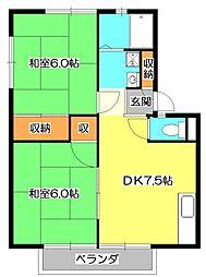 東京都東久留米市学園町2丁目の賃貸アパートの間取り
